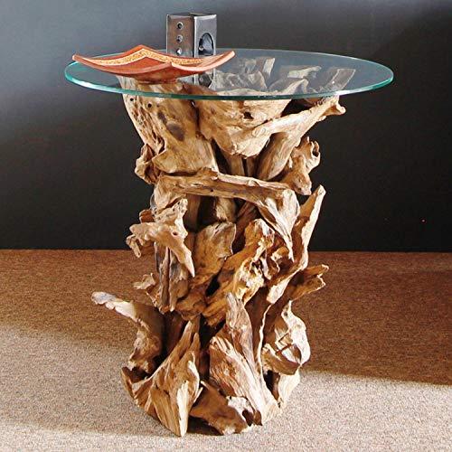 Designer Wurzelholz Tisch mit Glasplatte Ø 60cm | Wurzeltisch aus echtem Teakholz | Couchtisch Wurzelholz Glas massiv gebaut | Teak Holz aus nachhaltigem Anbau | Akzente setzen mit dem Teakholz Tisch