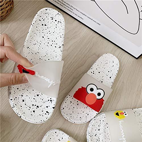 en,Frauen Slipper Rot Harajuku Cartoon Große Augen Hausschuhe Frauen Weichen Badezimmer Home Indoor Flach Folien Sommer Strand Flip Flops Schuhe,37 ()
