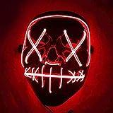 Kaliwa Maschera LED Halloween Maschera - Divertente Maschere con 3 modalità Flash Illuminano al Buio per Halloween Carnevale Festa Costume Cosplay Decorazione (Rosso)