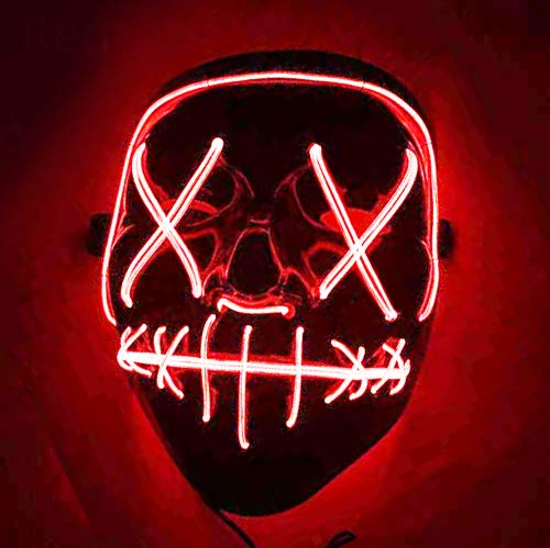 Yilyln LED Maske Purge DJ Mask mit 3 Blitzmodi für Party Halloween Fasching Karneval Kostüm Cosplay Dekoration (Rot 2)