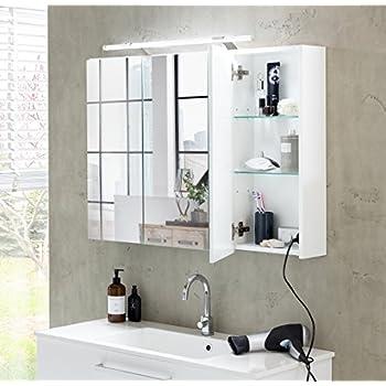 Galdem START80 Spiegelschrank, holz, 80 x 70 x 15 cm, weiß: Amazon ... | {Spiegelschrank holz weiß 77}