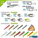 Fiiish Lures - Black Minnow Maxi Combo BM120 - Señuelo Blando de Vinilo para Pesca Spinning de Bass Lubina y otras especies - 120mm - 25 Grs - Color: Kaki + Azul + Kaki Glitter. Incluye 3 cuerpos de vinilo + 3 anzuelos + 3 cabezas.