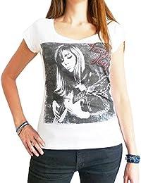 Françoise Hardy : T-shirt Femme imprimé photo de star,Blanc, t shirt femme,cadeau