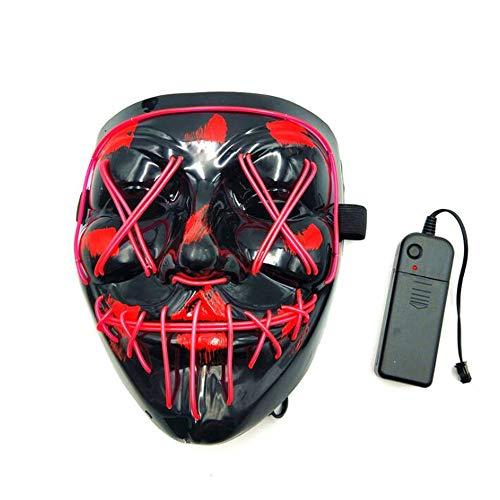 Nicht Kostüm Jungen Scary Für - WEIYIQ Halloween Maske LED Leuchten für Festival Cosplay Kostüm Scary Led EL Wire Party,B