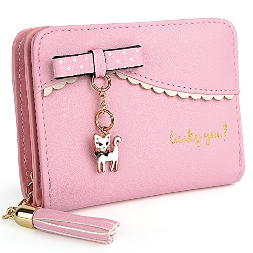 UTO Ladies Wallet PU Leather Cat Animal Card Holder Organizer Small Coin Purse Tassel Zipper