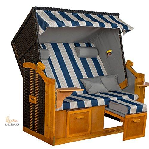 Strandkorb BALTIC BLW XXL, anthrazit, blau-weiß-grauer gestreifter Bezug, von LILIMO
