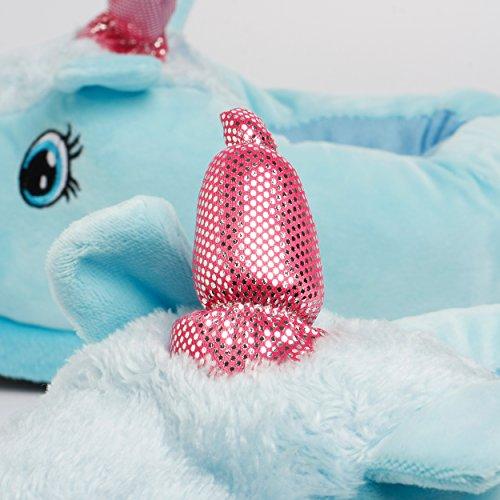 Katara 1770–Licorne Unicorn de Maison Pantoufles Chaussons peluche pour adultes/Femme bleu
