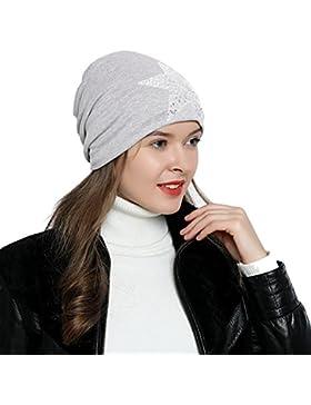 DonDon Mujer Gorro de invierno con estrella plata paillettes estrella e forro interior suave