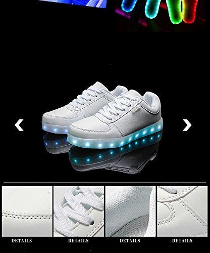 Expower Lumineuses Chaussure Lacet Led avec Chaussures Lumière Lumineux de 7 Couleurs Rechargeables Usb - Baskets Sneakers Clignotantes de Unisexe Homme Femme white