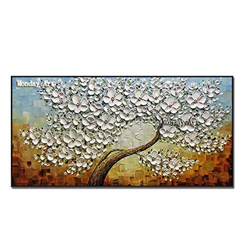 Antik-braun Cherry (Ölgemälde Auf Leinwand Handgemalt,Abstrakte Landschaft Texturierte Gemälde, Weissen Blüten Cherry Tree Auf Blau Braun, Extra Große Größe Moderner Wand Dekorative Artwork Für Eingang Wohnzimmer)
