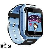 DAM DMAB0063C30 - Smartwatch GPS Speciale per Bambini, Funzione di tracciamento, chiamate SOS e Ricezione di Chiamata. Fotocamera Integrata. GPS + Lbs. Blu