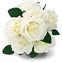 Flores Rosas de tela Blanco 10 cabeza SOLEDI seda flores artificiales artificial ramo boda sala de estar mesa Home Garden Decor