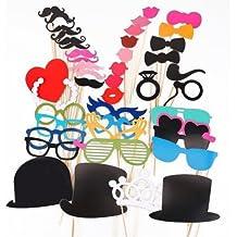 6a45cd6402 44 pcs oggetti di scena colorate su un bastone baffi Photo Booth  divertimento per matrimoni feste