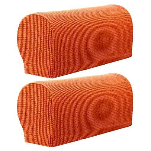 Monba 2 Stück kariert Anti-Rutsch-Stretch, bequem & weich, maschinenwaschbar, Armlehnenschoner Sessel Sofa Armschoner Flanell Orange