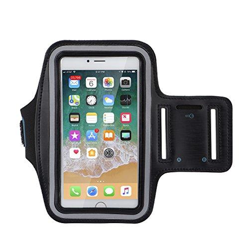 Fascia sportiva, alfort sport armband fascia da braccio sportiva impermeabile anti sudore con fasce riflettente per corsa / passeggiate / escursioni a piedi / jogging / palestra / allenamento compatibile con samsung galaxy a5 2017 / a3 2017 / s7 / s7 edge / iphone 8 / 7 / 6s / 6 / huawei p20 / p10 / sony xz ( 6.3 pollici, nero )