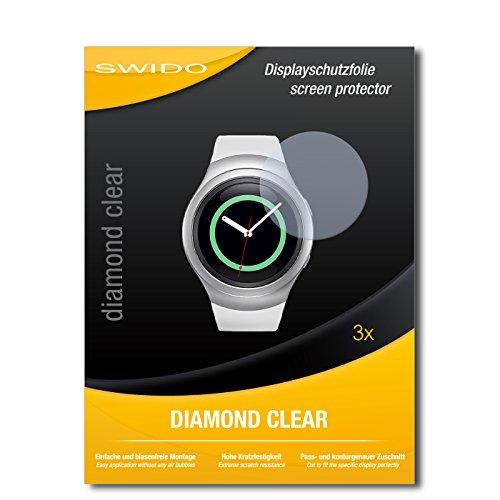 SWIDO 3 x Schutzfolie Samsung Gear S2 Classic Bildschirmschutz Folie DiamondClear unsichtbar