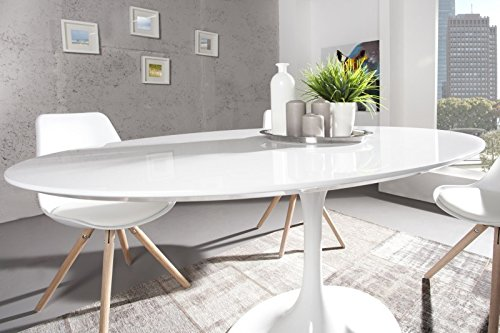 Casa Padrino Moderner Yacht Design Esstisch Weiß Hochglanz 160 cm Oval Esszimmer Tisch