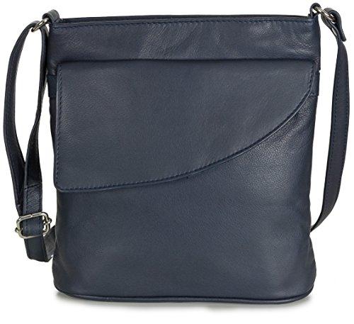 Taschenloft Umhängetasche Leder Blau Damen Lederhandtasche Schultertasche Handtasche klein (23 x 24 x 8 cm) Dunkelblau