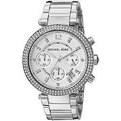 Michael Kors MK5353 - Reloj de cuarzo con correa de acero inoxidable para mujer, color plateado
