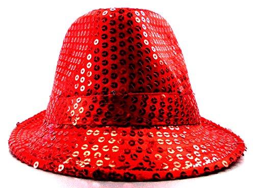 Trendit LED Party Hut Pailletten Huete mit Lichtern Fasching Hüte (rot) (Pailletten Hut Rot)