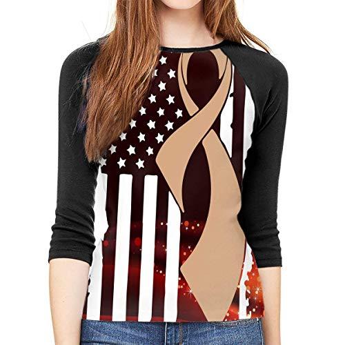 FHddg Childhood Cancer Awareness Flag Womens 3/4 Sleeve Raglan Tshirts -