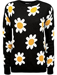 WearAll - Knitted Big Daisy Long Sleeve Sweat-shirt - Pullover - Femmes - Tailles 36 à 42
