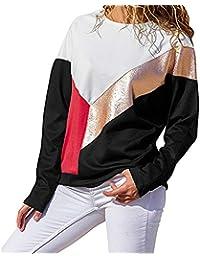 Camiseta Mujer Deporte Panel Superior de Mujer Cuello Redondo Manga Larga de Cuero Sudadera Blusa Blusas para Mujer Manga Larga…