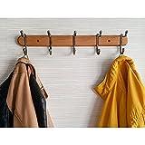 Tatkraft Charm | Hochstabile Wandgarderobe, Hakenleiste | Naturholz, Bronzierter Stahl| Fünf Doppelhaken| Elegantes Design | Maße 51 x 10.8 x 9.8 cm