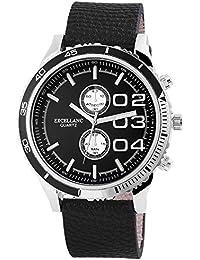 Excellanc llanc Analog Reloj de hombre, piel, diámetro 50mm Negro–295122500010