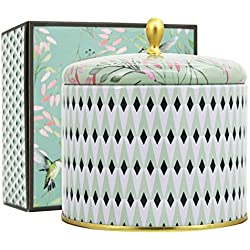 La Jolíe Muse Bougies Parfumées Thé Blanc Bougie Grosse 400g Cadeau pour la Fête Anniversaire Maison Décor 100% Cire de Soja Naturelle 2 Mèches 95 Heures