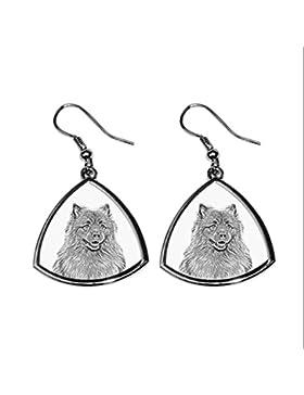 Keeshond, Sammlung von Ohrringe mit Bildern von reinrassigen Hunden, einzigartiges Geschenk