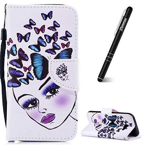 Leder Girls Wallet (Slynmax Samsung Galaxy A5 2017 Handyhülle Flip Leder Wallet mit Standfunktion Cover + 1x Stylus Pen Butterfly girl)