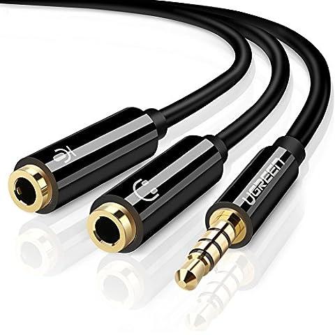 UGREEN Accessoire Audio Jack Adaptateur Audio Câble Jack 3.5mm à Casque Microphone pour PS4, Xbox One, PC, Téléphone, Tablette, Écouteur, Haut-parleur, Audio Enceinte 20cm