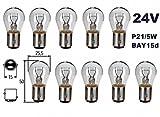 24 Volt - 10 Stück - P21 /5W - BAY15d - 2-Phasen Lampen, Dual Sockel Nfz LKW Beleuchtung - Glühlampe, Glassockellampe, Glühbirne, Soffitte, Lampen. Mit E-Prüfzeichen und ist für den Straßenverkehr zugelassen. INION®