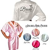 Butterfly Personalised Colour Satin Kimono /Robe's Personalised For The Wedding Party by Inspired Creative Design ® (UK 10-12)