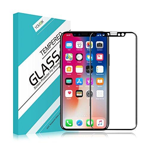 Protector de pantalla para iPhone X – Younik protector de pantalla transparente muy responsivo de vidrio templado con 9H de dureza con cobertura total 3D para iPhone X [fácil de colocar] [Sin burbujas] [Resistente a rayones]
