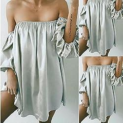 DAYLIN Women Short Sleeve Off Shoulder Loose Casual Party Evening Mini Dress