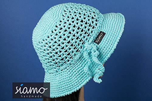Gehäkelter Sommer-Hut CLOCHE blau-türkis von siamo-handmade Baumwolle -