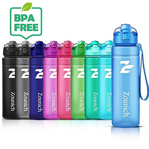 ZOUNICH Trinkflasche Kinder Sport 1.2L/1L/700ml/500ml BPA frei öko tritan Kunststoff Wasserflasche 1liter Sportflaschen Auslaufsichere für Fahrrad,Gym,Schule,Flip Top,öffnet Sich mit 1-Click, Infuser -