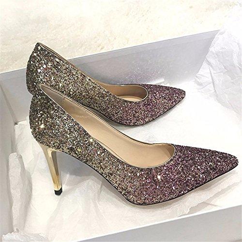 HXVU56546 Nouvelles Chers Crystal Dégradé De Paillettes Talons Hauts Chaussures Mode Fête Avec Amende Purple gold