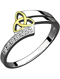 Sterling Silver Ring, 14K Gold Plated Trinity Knot and Six Cubic Zirconia Stones