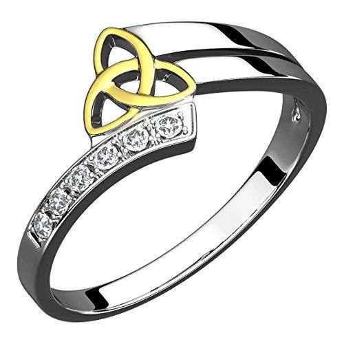 Anello in Puro Argento, con Nodo della Trinità placcato in Oro 14K e Sei Zirconie Cubiche