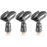 Neewer® 3Unidades Negro Universal micrófono Clip titulares con 5/8-inch Macho a 3/8Hembra Tuerca de Metal adaptadores para micrófonos de Mano