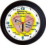 Lucky Clocks BABYFÜSSE Junge Taufe Geburt Wanduhren für Jeden Anlass mit jeder Beschriftung und Jedem Vornamen Namen erhältlich