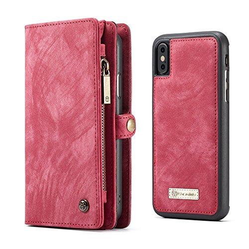 Apple iPhone X Case Hülle Geldbörse mit Kredit Kartenfächer [Geldschmühelosmit Reißverschluss] Premium mit abnehmbaren Magnet Handy Schutzhülle,