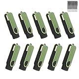 Lot de 10 Clé USB 16 Go Flash Drive USB 2.0 Haute Vitesse Rotation Disque Mémoire Stick Léger Conception Porte-clés avec Cordons (16GB Vert)