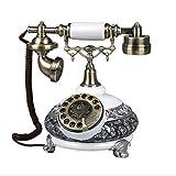 HongHao Retro Telefon Wählscheibe Telefon Festnetz Telefon Antikes Europäisches Dekoratives Telefon Vintages Verdrahtetes Telefon (Farbe : Weiß)