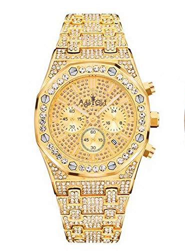 Llzka Herrenuhr Chronograph Saphir Edelstahl Gold Rose Silber Black Ice Diamond Fashion Sport Gold