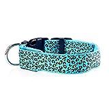 XIAOL Home Wiederaufladbare Nacht LED Hundehalsband Mode Leopard Muster Durable Nylon Kragen Heimtierbedarf (Blau)