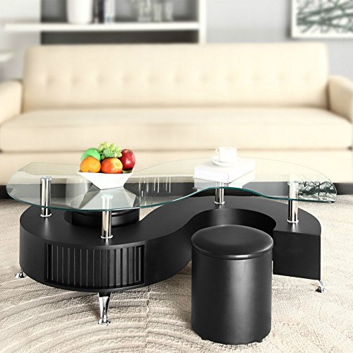 Salebuzz Uk S Shape Curve Glass Coffee Table With 2 Stools Faux Leather Modern Design
